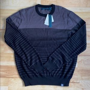 Perry Ellis Men's Black and Grey Sweater Size M